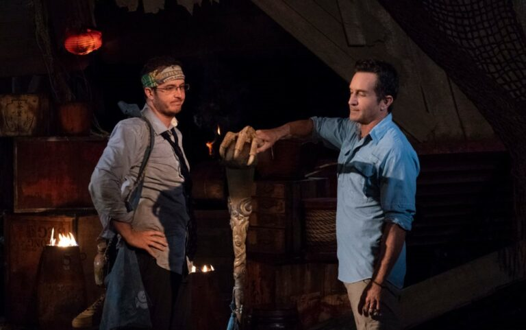 """MANA ISLAND - JUNE 8: """"I Need a Dance Partner"""" - Jeff Probst extinguishes Rick Devens' torch at Tribal Council on the fourth episode of SURVIVOR: Edge of Extinction"""